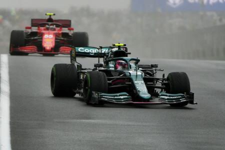 Sebastian on the Intermediate tyre at the start of the Turkish Grand Prix