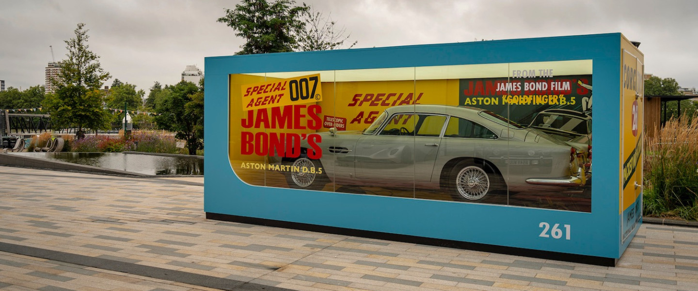 The full-size replica of the original 1965 Corgi DB5 model stands out on a grey day in London