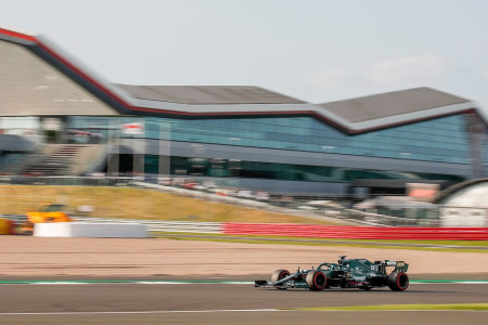 Lance powers past the Silverstone wing