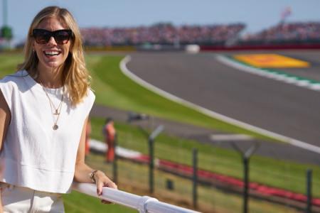 Formula E Presenter Nicki Shields enjoys the views from the Amici Di Peroni hospitality