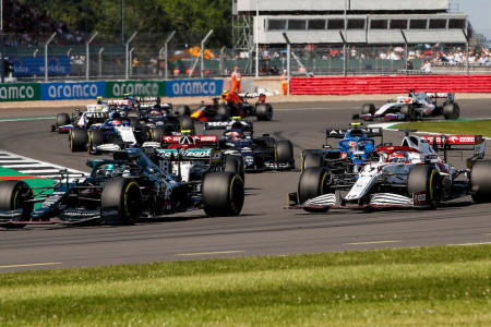 Lance battles his way through the midfield in the British Grand Prix