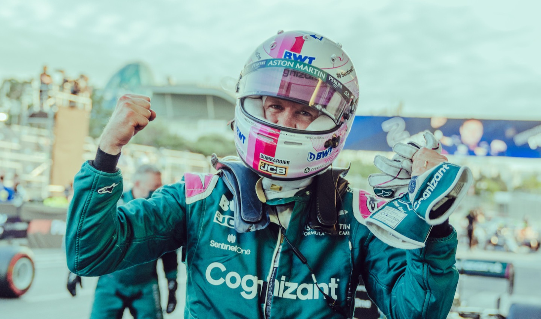 Sebastian celebrates the Baku podium