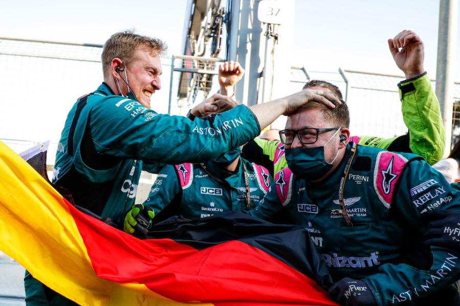 The team celebrates Sebastian's podium in Baku