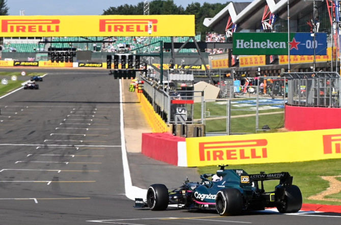 Sebastian rounds the final corner on a lap of Silverstone during the Grand Prix