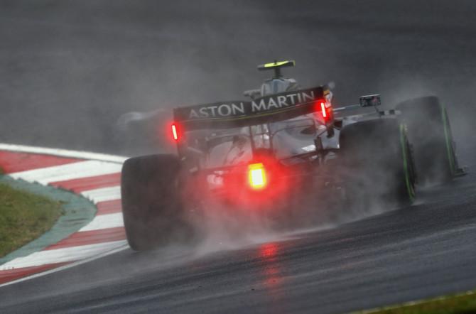 Sebastian explores the circuit in a damp FP3