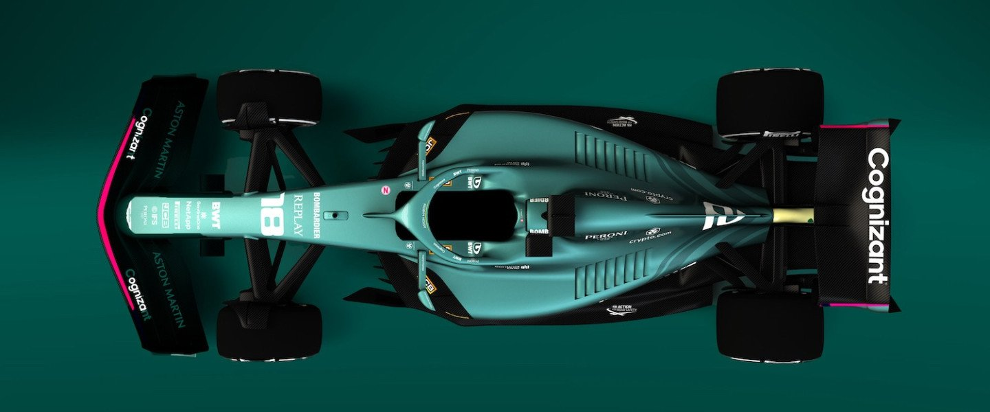 Render of Aston Martin 2021 livery on the 2022 design
