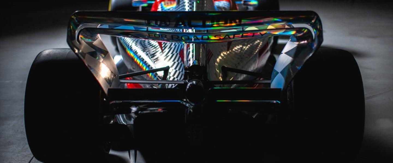 The sleek rear end of the 2022 Formula One car