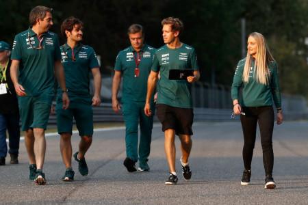 Driver Ambassador Jessica Hawkins joins Sebastian for the track walk at Monza