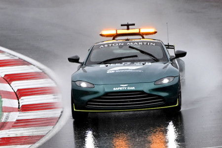 The Aston Martin Vantage Safety Car checks track conditions on Saturday morning